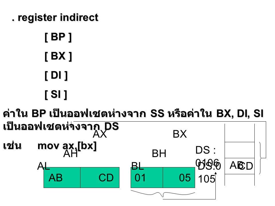 . register indirect [ BP ] [ BX ] [ DI ] [ SI ] ค่าใน BP เป็นออฟเซตห่างจาก SS หรือค่าใน BX, DI, SI เป็นออฟเซตห่างจาก DS.
